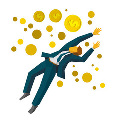 jumping businessman catch coins business concept vector image