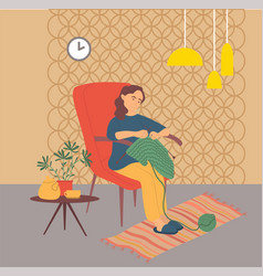 Knitting hobwoman at home pastime character vector