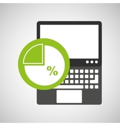 Laptop technology chart graph icon vector