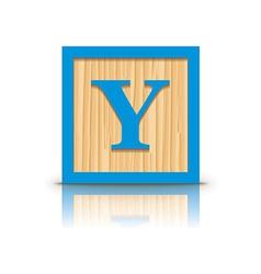Letter Y wooden alphabet block vector