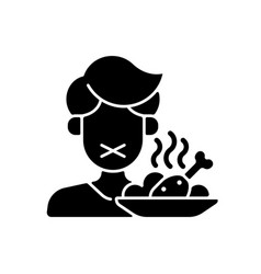 Loss appetite black glyph icon vector