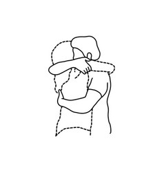 Man hugs his transparent dashed line lover vector
