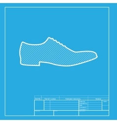 Men Shoes sign White section of icon on blueprint vector