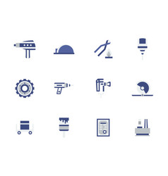 Metal processing equipment flat color icons vector