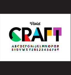 modern vivid color style font vibtant alphabet vector image