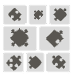 monochrome icons with puzzle vector image