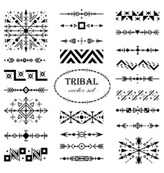 monochrome set of design elements in tribal style vector image