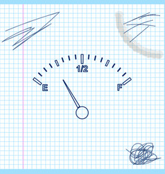 motor gas gauge line sketch icon isolated on white vector image