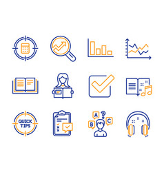 Music book histogram and checklist icons set vector