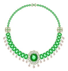 Necklace with emeralds vector image