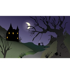 Night fairytale landscape vector
