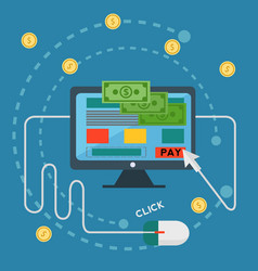 pay per click online banking money transfer vector image