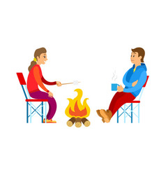 people in sport suit picnic and bonfire vector image