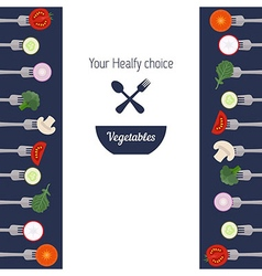 Pieces of vegetables on forks vector image vector image