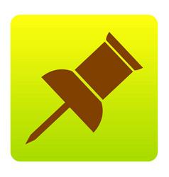 pin push sign brown icon at green-yellow vector image