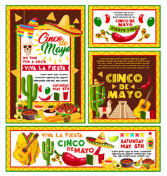Posters mexican cinco de mayo fiesta party vector