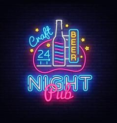 pub neon signboard beer pub neon sign vector image