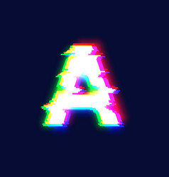 realistic glitch font character a vector image