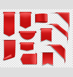 red ribbons labels and banners set vector image