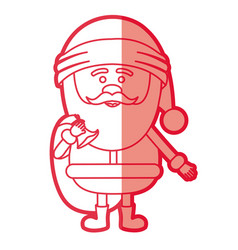 red silhouette of santa claus with gift bag and vector image