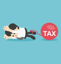 Sad businessman from tax for tax concept vector