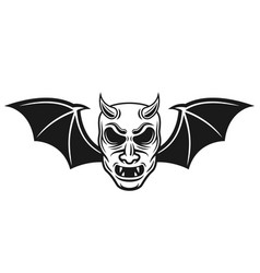 samurai mask with bat wings and horns vector image