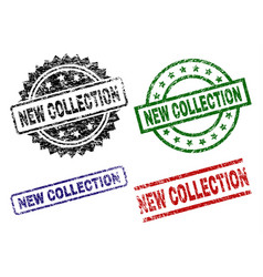 Scratched textured new collection stamp seals vector
