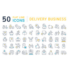 Set line icons delivery business vector