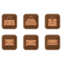 Set of fashion icons with bags vector image