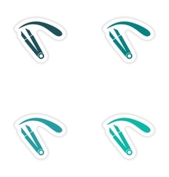 Set of paper stickers on white background eyebrow vector