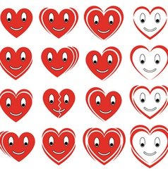 Set of smile hearts vector