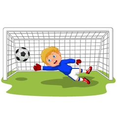 Soccer football goalie keeper saving a goal vector