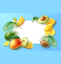 summer party tropical fruit banner in frame vector image