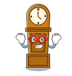 super hero grandfather clock character cartoon vector image