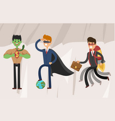 Superhero business man set vector