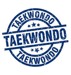 taekwondo blue round grunge stamp vector image