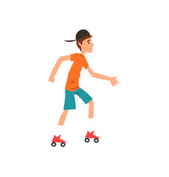 Teen boy rolling on roller blades active healthy vector