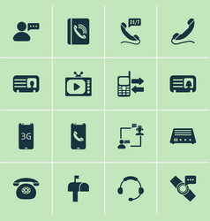 Telecommunication icons set with mobile data vector