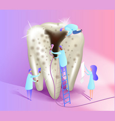 Tooth with caries isometric a group vector