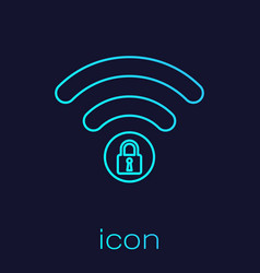 turquoise wifi locked sign line icon isolated on vector image