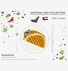 uae cuisine middle east national dish collection vector image