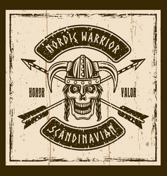 viking skull in horned helmet brown emblem vector image