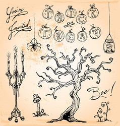 Vintage Halloween Hand Drawn Set Four vector image