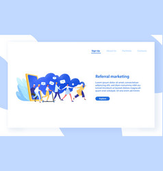 website template with group people or customers vector image