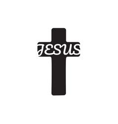 Word jesus in cross shape christian symbol stock vector