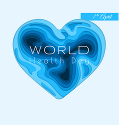 world health day banner paper cut 3d heart vector image