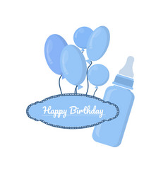 blue bottle with slots and label on white vector image vector image