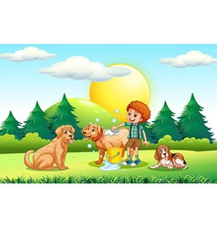 Boy giving dogs bath in the park vector