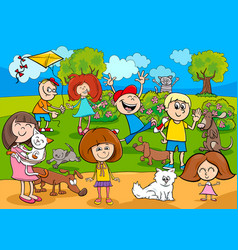 cartoon kids with pets in the park vector image