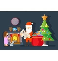 Santa gives gift to little girl near fireplace vector image vector image